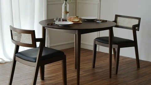 Latte solid wood round dining table set for two