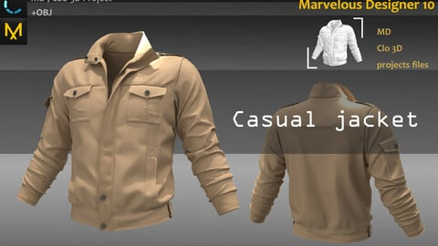 Casual jacket_Outfit_Clo3d, Marvelous designer(fbx,obj,texture if needed)