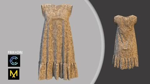 Dress. Marvelous Designer/Clo3d project + OBJ + FBX