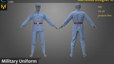 Military Uniform_the Soviet Union/German Army attire_Military Outfit_Clo3d, Marvelous Designer Project + FBX + OBJ(if needed)