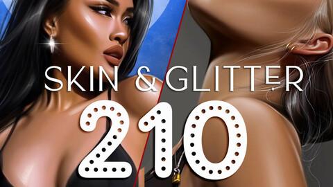 210+ Skin Brushes & Glitter brushes - Procreate Brushes, pore brushes, freckles brushes, texture brushes, structure glitters grain