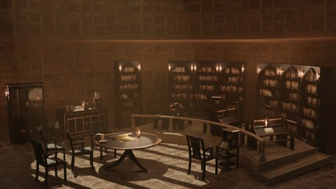 Medieval Library Model Pack Black low-poly