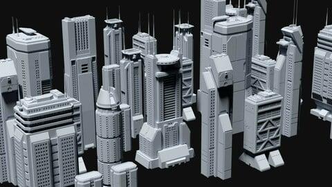 Sci-Fi Skycrapers Kit 4 - Futuristic Cyberpunk Buildings