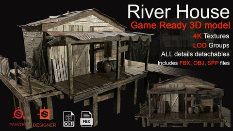 River House. Game ready 3d model