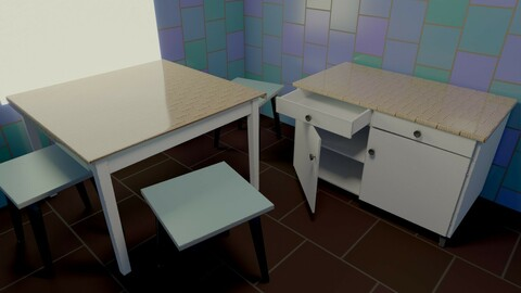 Table chair kitchen chest of drawers Old soviet PBR game-ready low-poly