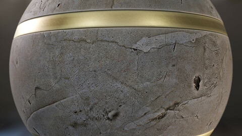 PBR - CONCRETE AND BRONZE DECORATIVE WALL - 4K MATERIAL