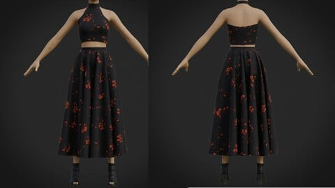 halter neck crop top and maxi skirt - two piece prom dress 3d model