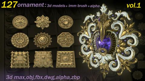 127 Ornament 3D Models+IMMBrushes+Alphas_VOL.01