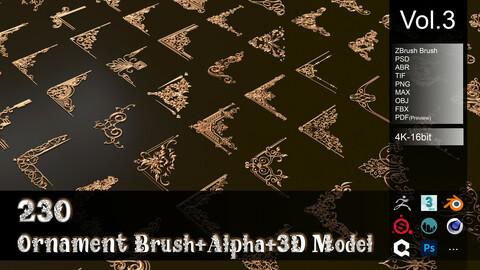 230 Ornament Brush + Alpha + 3D model vol 3 .