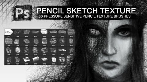 30 pencil sketch texture photoshop pressure sensitive brushes, for surface texturing and stylization.