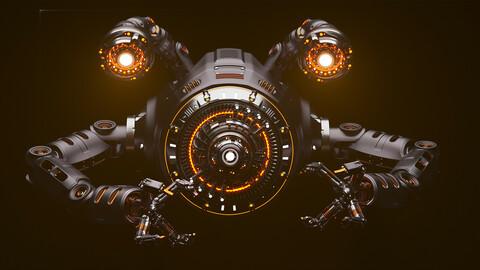 Sci - Fi Drone Rigged Advanced Edition - 3D model