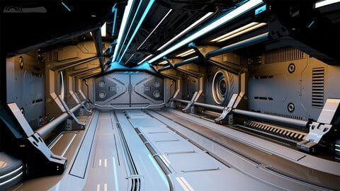 Sci - Fi Modular Corridor 2 - 3D Model