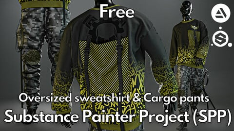 Substance Painter (.SPP) : Oversized sweatshirt & cargo pants