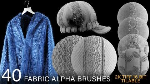 40 fabric alpha brush bundle : TRICOT & KNITTED (2k tiff 16 bit) + FREE video