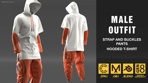 Male outfit. Strap and buckles pants, hooded t-shirt. MD/CLO3D PROJECT FILE + OBJ + BLEND
