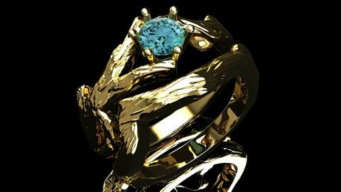 Wood set gold ring