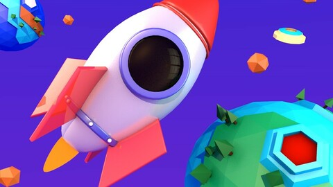 Low Poly Rocket Earth Ship C4D model Spacecraft Planet Elements