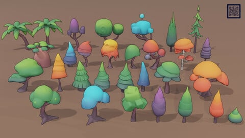 Stylized Low Poly Trees Pack 01