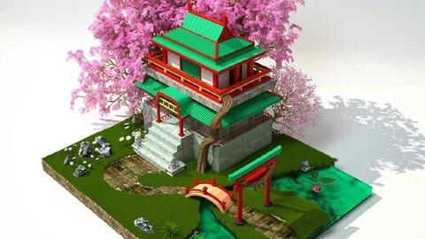 Spring ancient pond temple Peach tree bridge rockery Lotus pond small