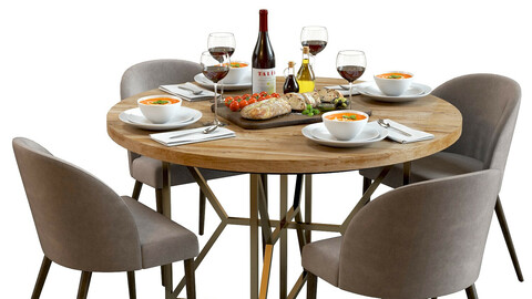 3D Model / Table Set with Food 02 / Crate&Barrel Furniture / Bread Board / Tomato Soup / Tableware