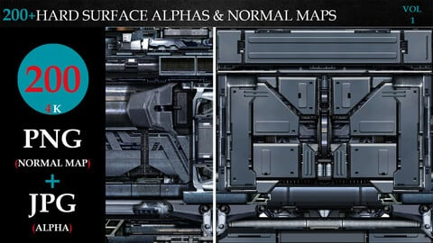 200+HARD SURFACE ALPHAS & NORMAL MAPS-VOL 1