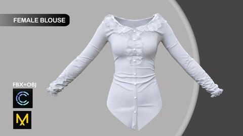 Female Blouse Marvelous Designer/Clo3d project + OBJ + FBX