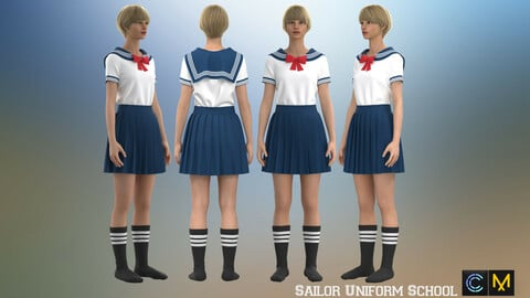 Sailor Uniform School, marvelous designer,clo3d