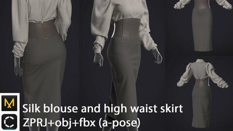 Silk blouse and high waist skirt