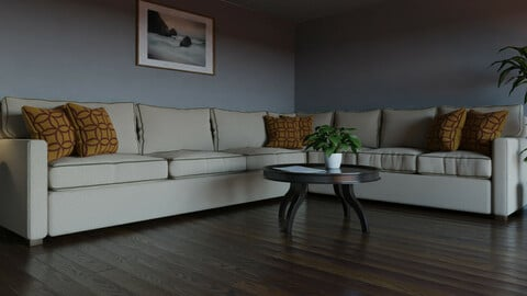 9-Piece Sofa Suite for Blender with fully customizable shaders