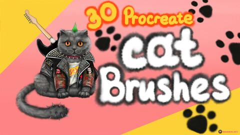 MarMirArt Cat Brush Set | 30 Fur Brushes For Procreate | Wool Brushes