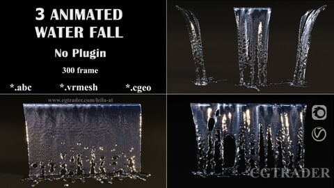 Animated waterfall - NO PLUGINs 3D model