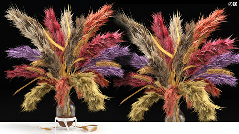 vase of color Pampas Grass and dried Wheat