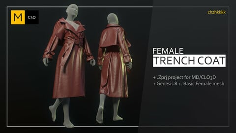 Female Trench coat project MD/CLO3D