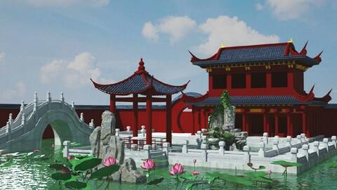 Garden pavilion, lotus leaf, lotus flower, bridge, pond, ancient