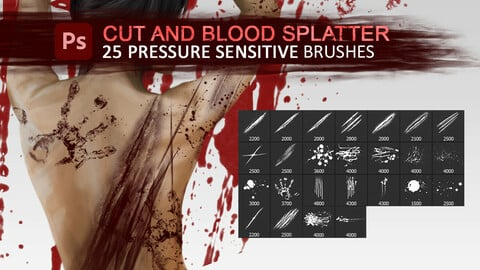 25 cuts, wounds and blood splatter pressure sensitive photoshop drawing and texturing brushes.