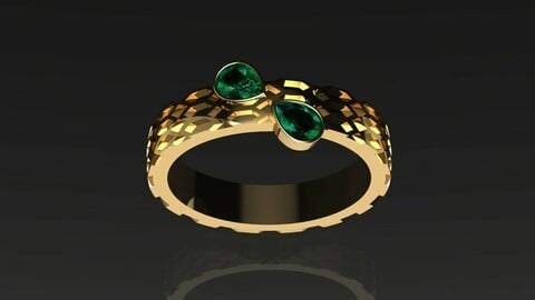 Modern Engagement and wedding Gold Ring