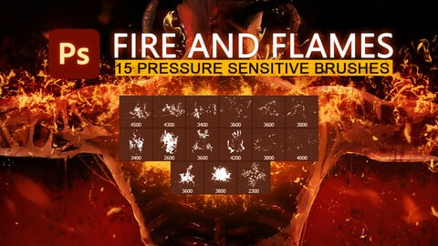 15 Fire ,flames and ashes pressure sensitive photoshop brush set.