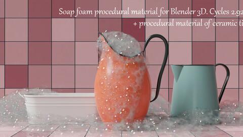 Procedural Soap Foam Materials For Blender 3d. Cycles 2.92-93