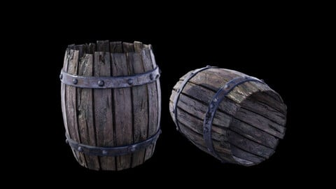Medieval Fantasy Prop 02 - Old barrel - UE, Unity, Cry Engine, 3Ds Max, Cinema 4D, Maya and more