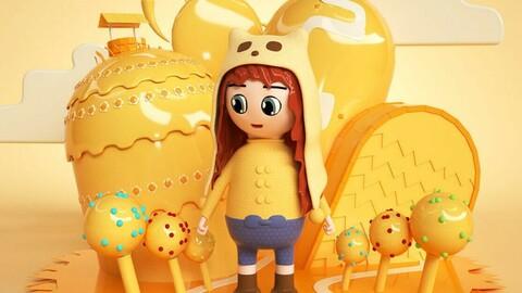 Orange C4D cartoon idyllic style girl IP creative image little girl little girl little girl cute girl Q version girl