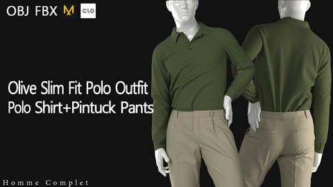 Olive Slim Fit Polo Outfit For Genesis8