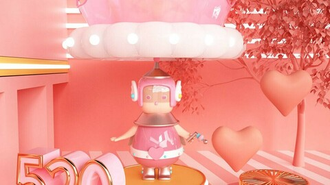 Pink C4D cartoon style 5.20 theme IP image robot technology baby girl