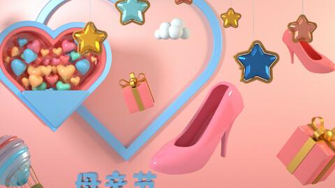 Stars decorated heels hot air balloon heart Valentine's Day Qixi 5.20 pink