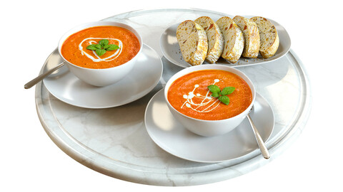 3D Model / Food Set 03 / Tomato Soup and Bread