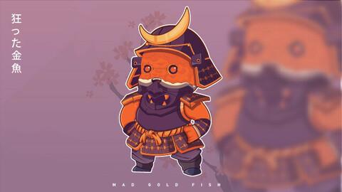 Chibi Mad Goldfish Samurai Full Armor Illustration