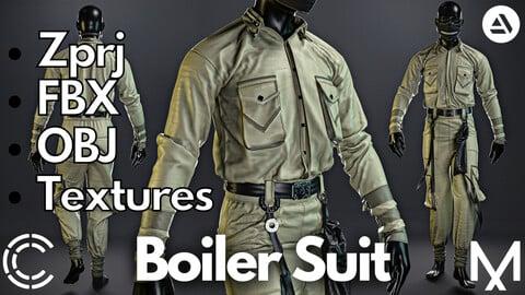 Marvelous Designer + Clo3d + OBJ + FBX + Texture : Boiler suit