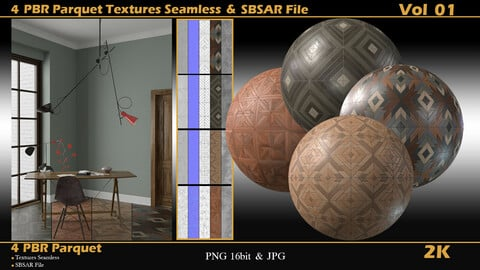4_PBR_Parquet_Textures_Seamless_and_SBSAR_File_2K Vol_01