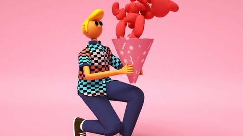 Color cartoon style boy holding heart theme Valentine's Day cartoon boy
