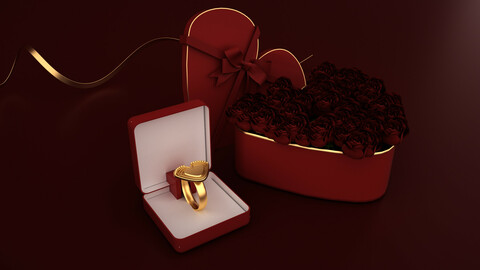 Realistic rose flower gift box scene rose heart Beauty Chen Valentine's