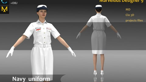 Military Navy Female Uniform_MD file_Practice for Zbrush (Clo3D Project + obj files)